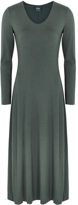 MAX MARA LEISURE Ghiacci Dark Green Jersey Midi Dress