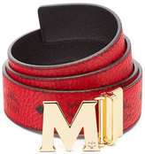 MCM Claus Golden Reversible Visetos/Saffiano Belt, Ruby Red