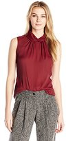 Anne Klein Women's Dot Print Sleeveless Twist Neck Top