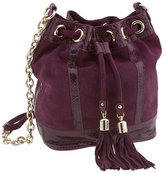 'Snake Trimmed Suede  Small' Drawstring Crossbody Bag