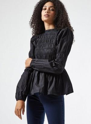 Dorothy Perkins Womens Black Shirred Long Sleeve Top, Black