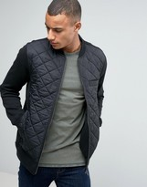 Esprit Quilted Bomber Jacket with Jersey Sleeves