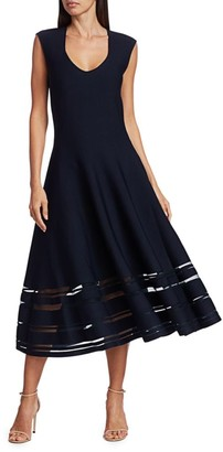 Zac Posen Sheer Stripe Knit Cocktail Dress
