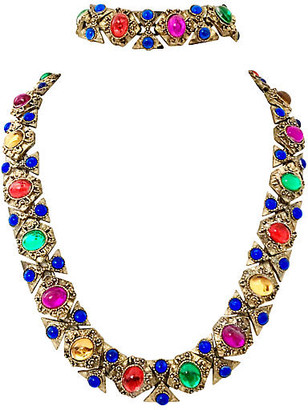 One Kings Lane Vintage Gilt Cabochon Necklace & Bracelet Set - Jacki Mallick Designs