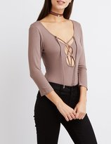 Charlotte Russe Ribbed Lace-Up Bodysuit