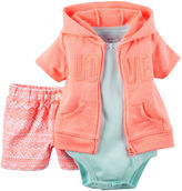 Carter's 3-pc. Cardigan, Bodysuit and Shorts Set - Baby Girls newborn-24m