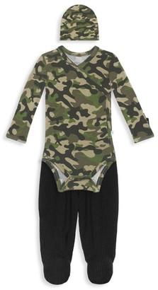 Baby Boy's 3-Piece Cadet Kimono, Footie Pants & Beanie Set