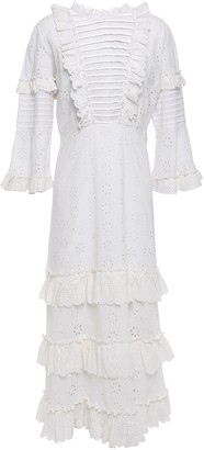 By Ti Mo Pintucked Ruffled Broderie Anglaise Cotton Midi Dress
