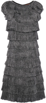 Missoni Tiered Fringed Metallic Knitted Dress