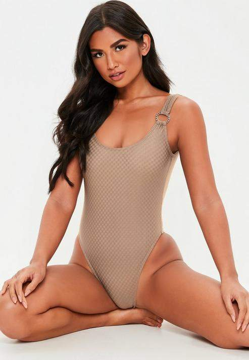 Brown Textured Ring High Leg Swimsuit