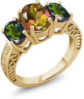 Gem Stone King 3.40 Ct Mango and Forest Green Mystic Topaz 18K Yellow Gold Plated Silver Ring