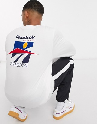 Reebok classics long sleeve t-shirt with international sports back print in white
