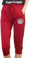 QIYUN.Z Women Sports Casual Knee Cropped Pants Cotton Waist Drawstring Running Pantalon