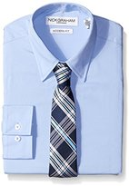 Nick Graham Everywhere Men's Light Blue Solid Dress Shirt with Navy Plaid Tie