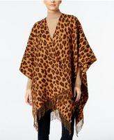 Anne Klein Woven Leopard-Print Split Wrap Poncho