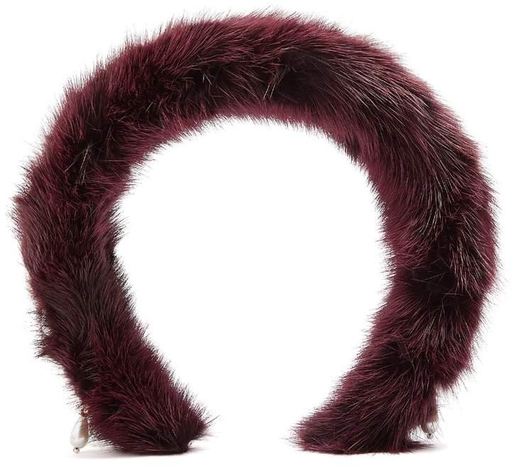 Altuzarra Faux-pearl embellished mink headband