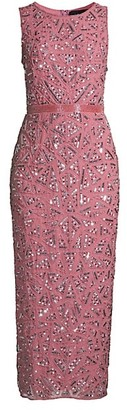 Mac Duggal Triangle Bead & Sequin Pattern Midi Sheath Dress