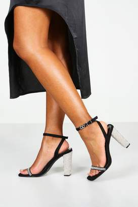 boohoo Square Toe Diamante Detail 2 Part Heels
