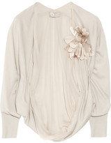 Lanvin Flower-embellished cashmere shrug