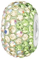 JewelStop 925 Sterling Silver Lime & Created Opal Crystal Oval Elliptical Charm Bead