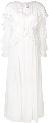 IRO embroidered ruffle maxi dress