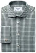 Charles Tyrwhitt Extra Slim Fit Prince Of Wales Green Cotton Dress Shirt Size 17/34