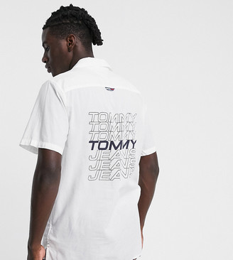 Tommy Jeans ASOS exclusive back logo camp short sleeve shirt in white