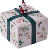 Pfaltzgraff 2-Pc. Winterberry Lidded Santa Treat Jar, Created for Macy's