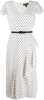 Lauren Ralph Lauren V-neck polka dot dress
