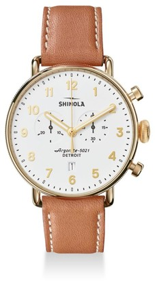 Shinola The Canfield Chronograph Velvet Dial Leather Strap Watch