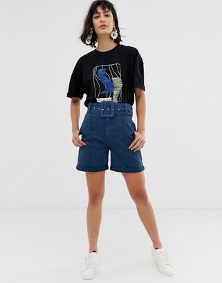 Asos denim belted shorts