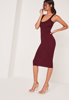 Missguided Ribbed Sleeveless Midi Dress Purple