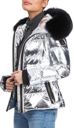 "Gorski Metallic Apres-Ski Jacket With Detachable Fox Fur Hood Trim - 24"""