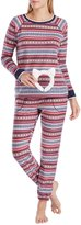 Kensie Fair Isle Microfleece Pajamas with Faux-Fur Kitty-Ears Headband