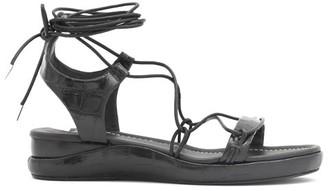 Chloé Lace-up Crocodile-effect Leather Sandals - Black