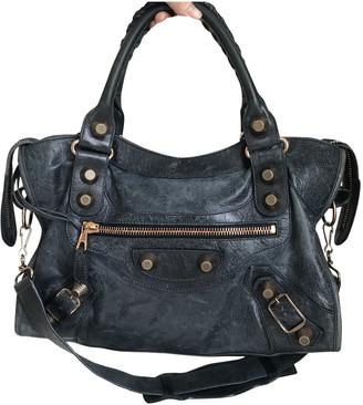 Balenciaga City Navy Leather Handbags
