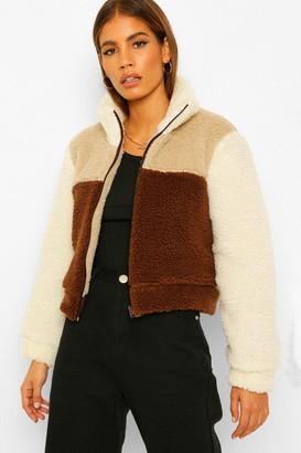 boohoo Petite Colour Block Teddy Coat