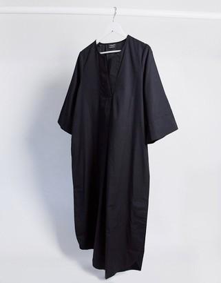 Selected poplin midi dress with kimono sleeves in black