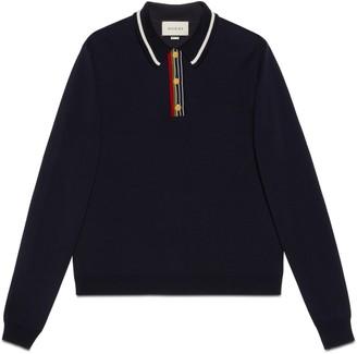 Gucci Knit cotton long-sleeve polo
