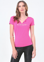 Bebe Logo Split Neck Tee