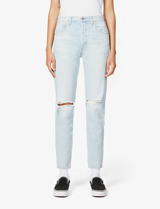 Citizens of Humanity Liya classic-fit ripped high-rise organic-cotton jeans