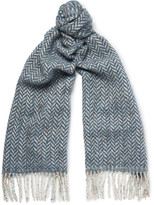 Richard James - Herringbone Wool And Cotton-blend Scarf