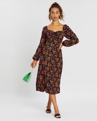 Missguided Milkmaid Long Sleeve Floral Midi Dress