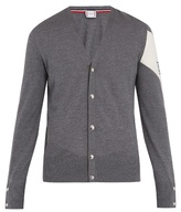 Moncler Gamme Bleu Contrast-panel V-neck wool cardigan