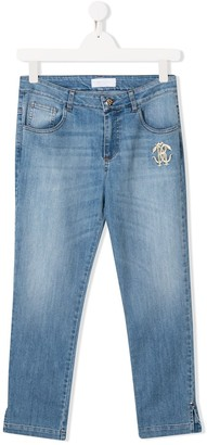 Roberto Cavalli Junior TEEN split hem embroidered jeans