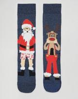 Asos Holidays Socks With Santa & Reindeer Glitter Design 2 Pack