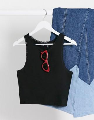 ASOS DESIGN vest with lace trim