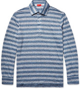 Isaia Striped Knitted Slub Linen Polo Shirt