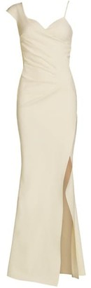 Chiara Boni One-Shoulder Front-Slit Wrap Gown