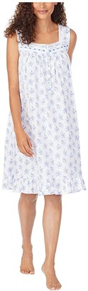Eileen West Cotton Jersey Knit Sleeveless Short Nightgown (White Ground Blue/Pink Floral) Women's Pajama